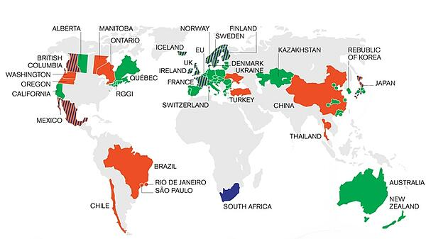global map of Carbon Tax and other ETS